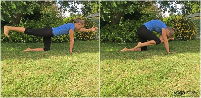 Yoga Poses for Core- Bird Dog Crunch