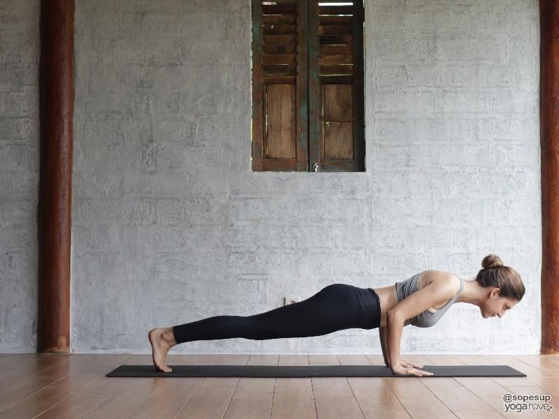 Chaturanga pose- full body yoga sequence for beginners