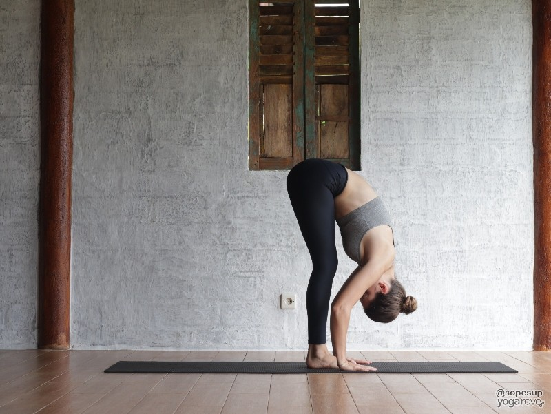 Standing Forward Fold- pose in full body yoga sequence