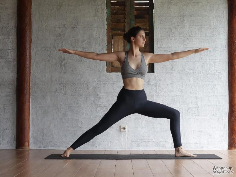 Warrior II- 4th pose in full body yoga sequence