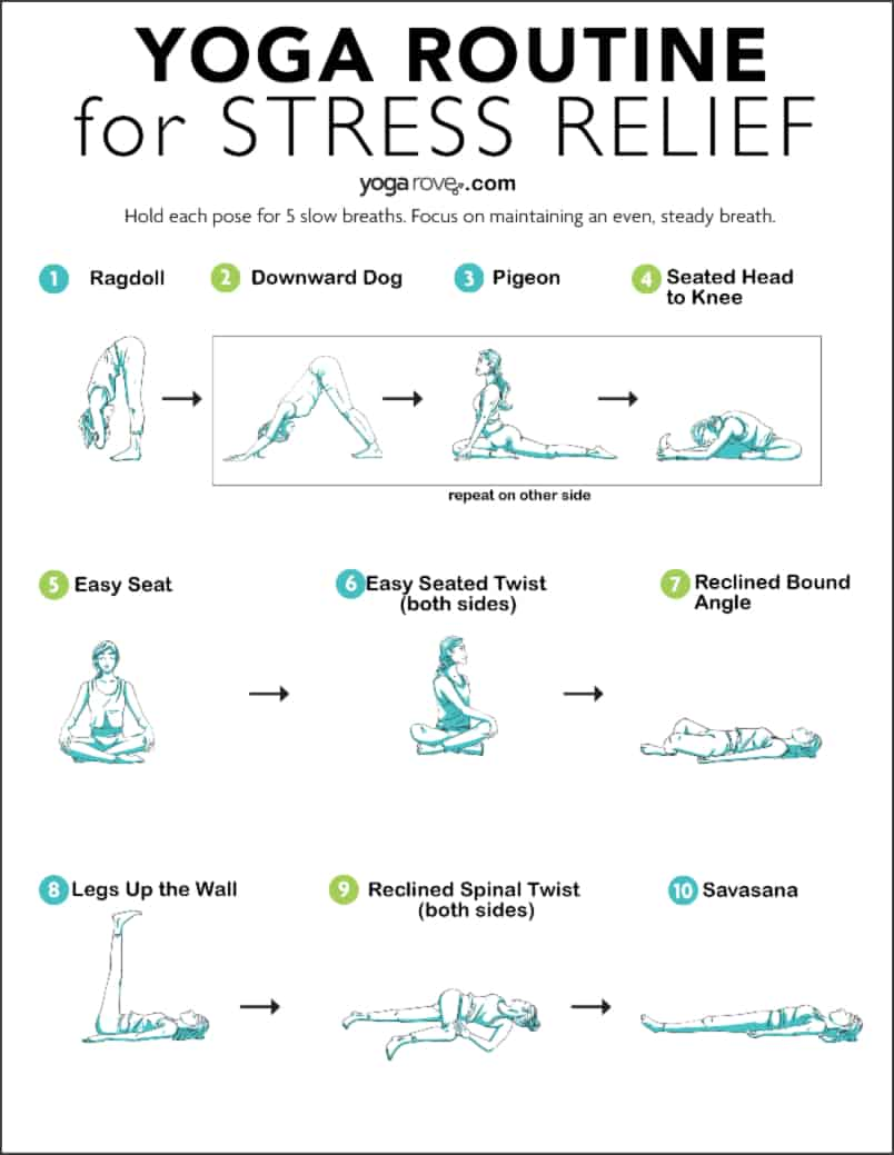 Yoga routine for Stress Relief Printable