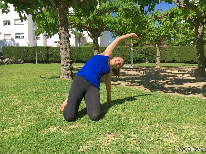 overhead side stretch to stretch the shoulders