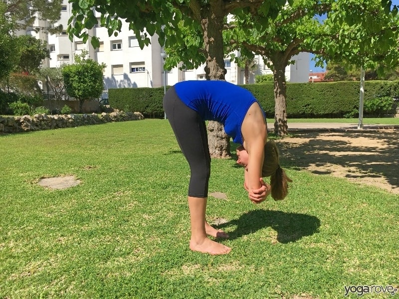 ragdoll yoga pose- gentle stretch for the neck and shoulders