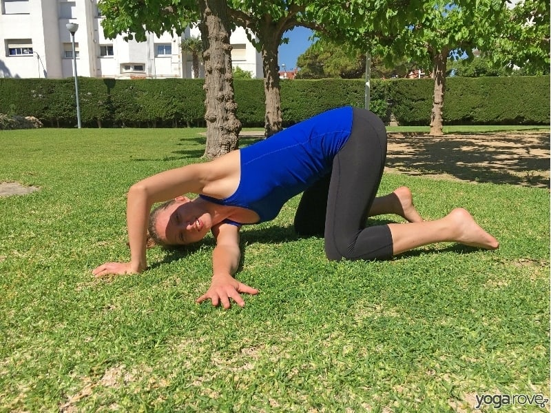thread the needle pose for tight shoulders