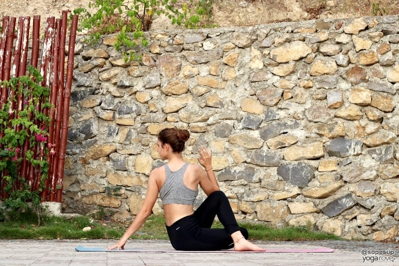 Seated spinal twist- yoga poses you can do everyday