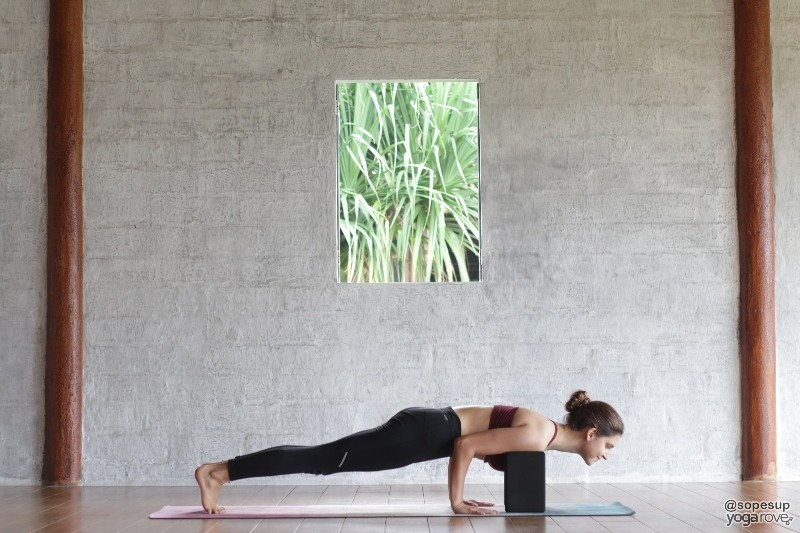 practicing chaturanga with yoga blocks under shoulders