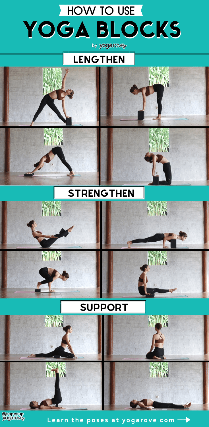 How to Use Yoga Blocks 12 different ways infographic