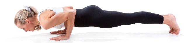 Chaturanga yoga pose to build muscle in the upper body