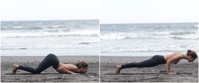yogi practicing knees-chest-chin/ chaturanga in sun salutation a