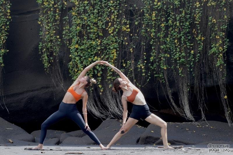 two yogis practicing reverse warrior- partner yoga