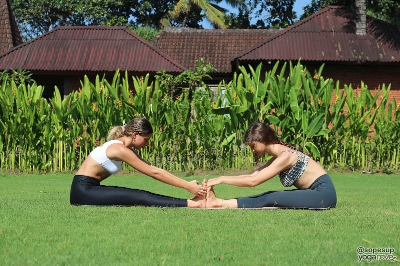 two yogis practicing seated forward fold-partner yoga