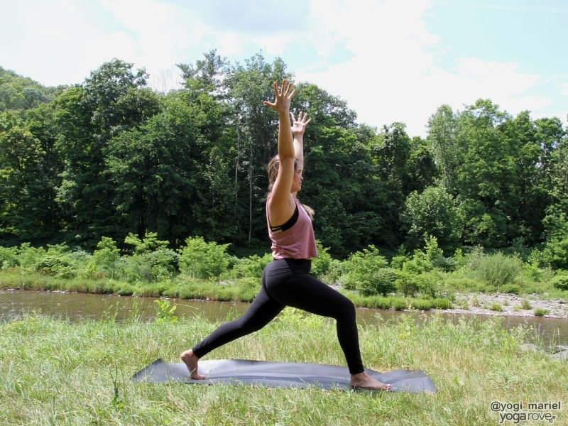 yogi practicing high lunge for tight hips