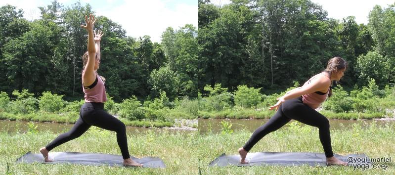 yogi practicing high lunge flow in sweaty living room yoga routine