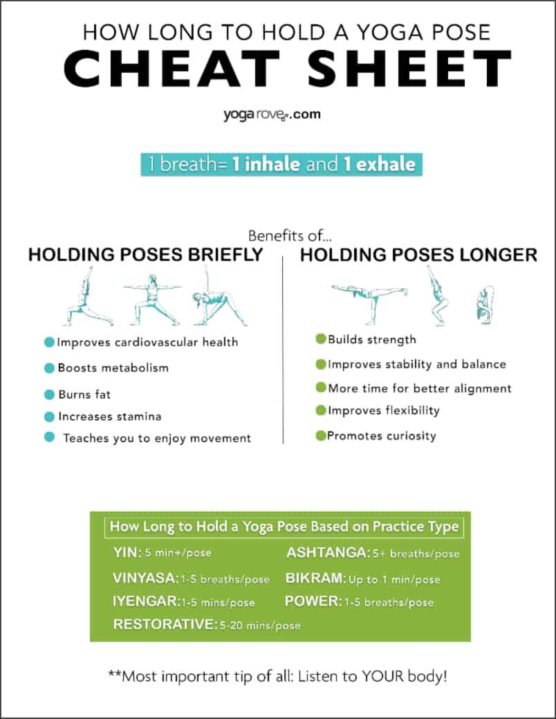 how long to hold a yoga pose free cheat sheet printable