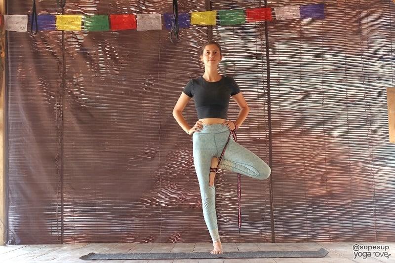 yogi practicing tree pose with yoga strap.
