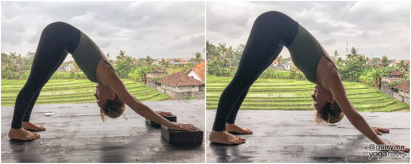 yogi practicing downward facing dog with and without blocks for tight hamstrings.