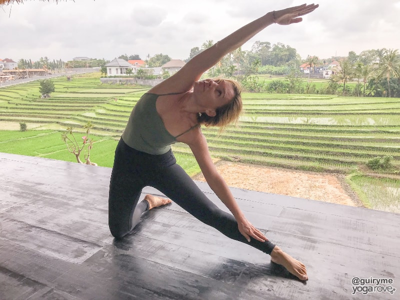 yogi practicing gate pose for tight hamstrings