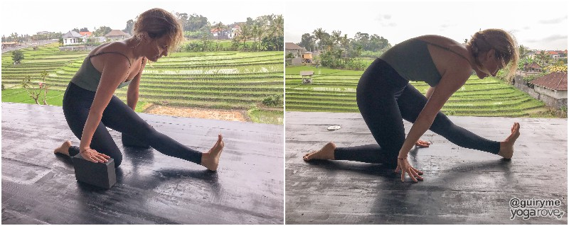yogi practicing half split for tight hamstrings.