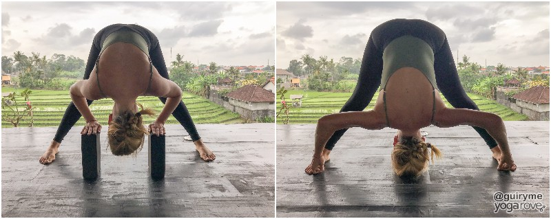 yogi practicing standing wide legged fold for tight hamstrings.