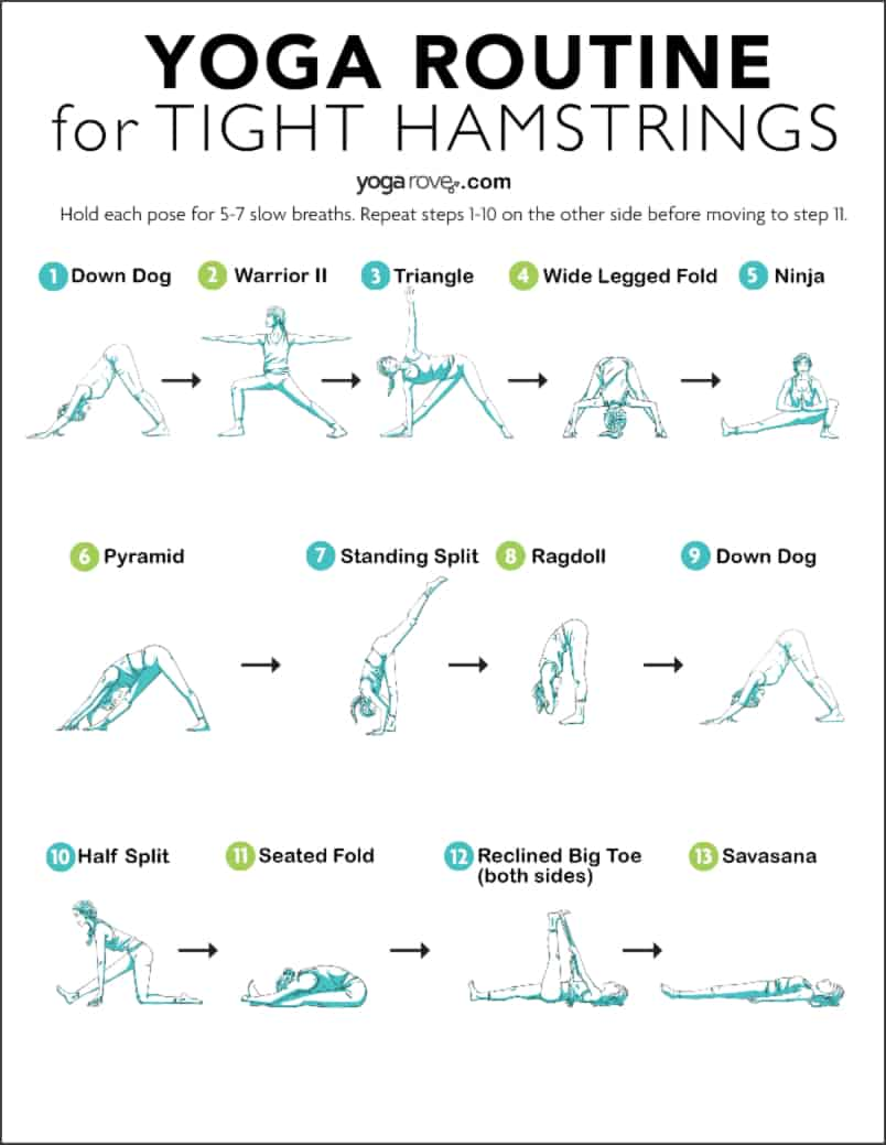yoga for tight hamstrings printable
