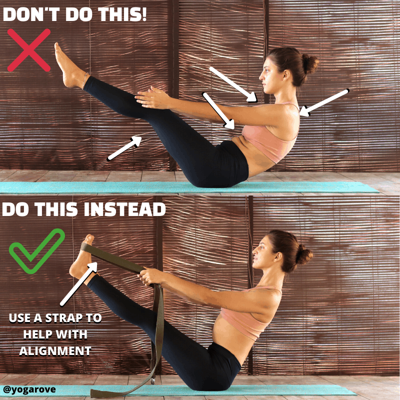 comparison of proper and improper alignment in boat pose infographic.