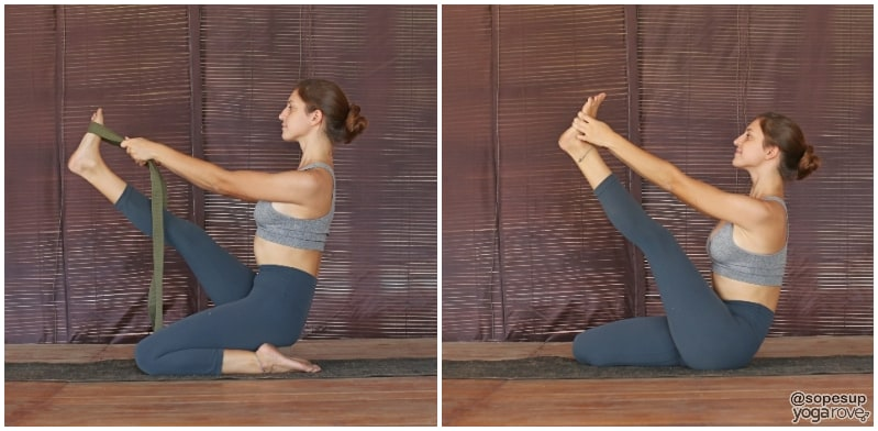 yogi practicing seated hero pose with and without strap.
