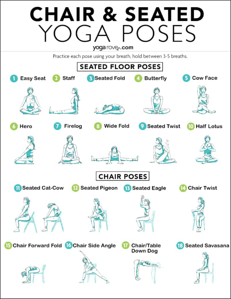 chair and seated yoga poses printable