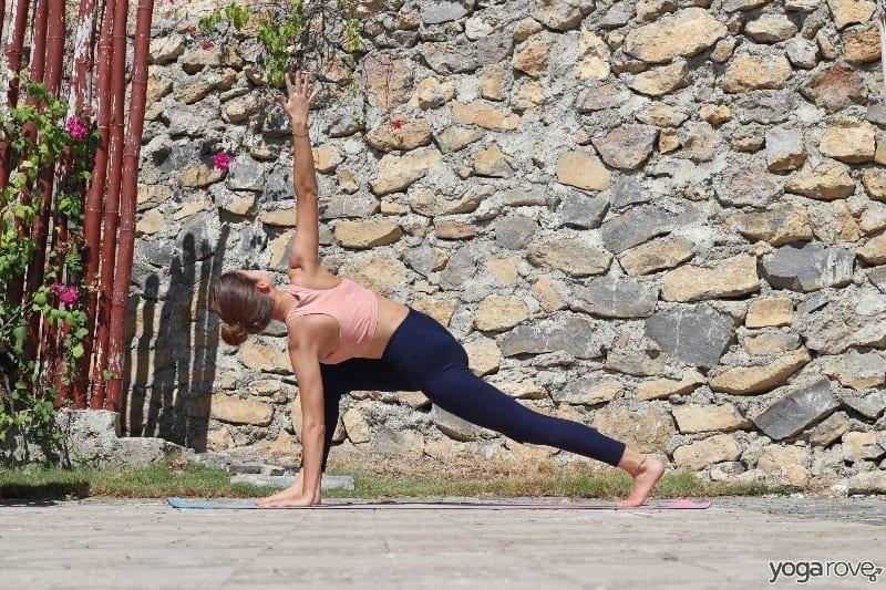 yogi practicing easy twist yoga pose