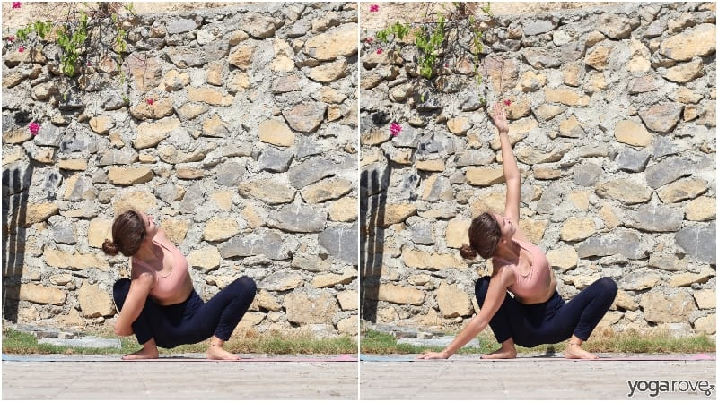 yogi practicing garland pose with bind and variation