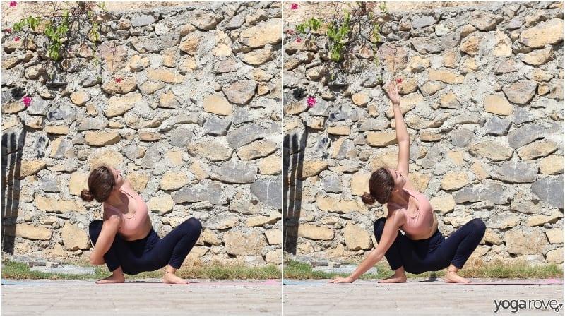 yogi practicing garland pose with bind and variation