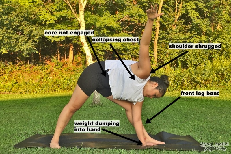 yogi showing incorrect alignment in triangle pose and how to fix it