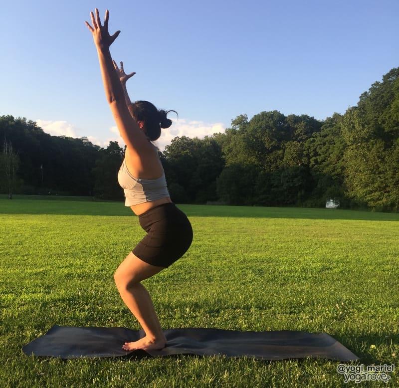 yogi practicing chair pose in hatha yoga