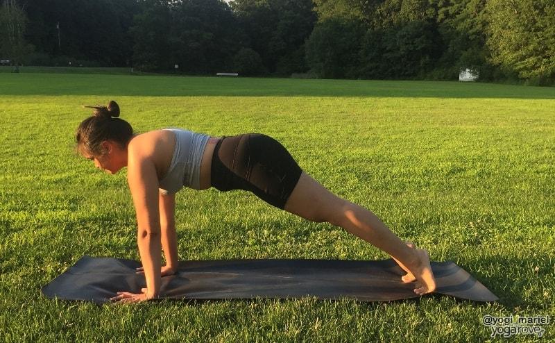 yogi practicing plank pose in hatha yoga