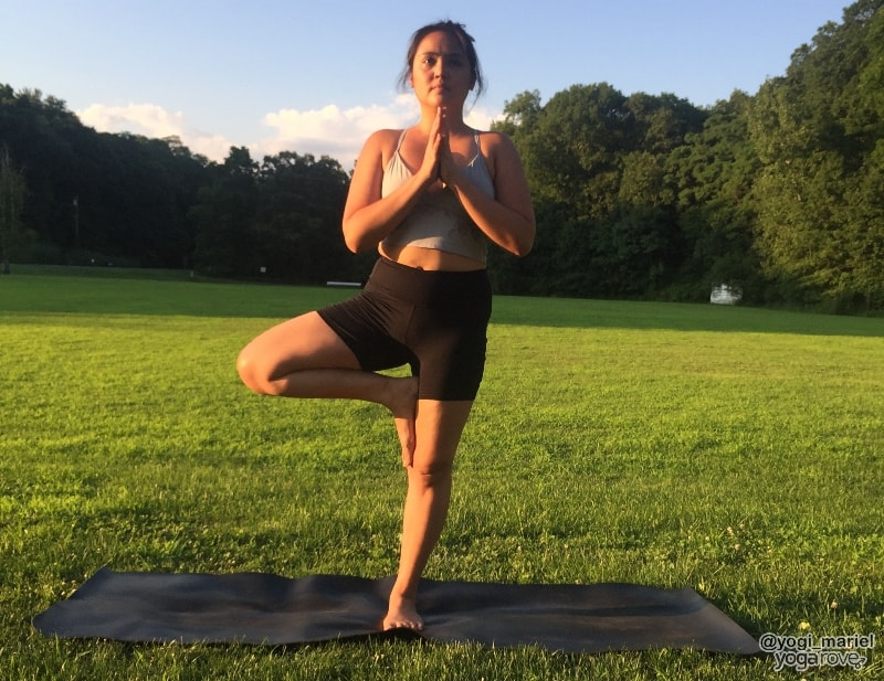 yogi practicing tree pose in hatha yoga