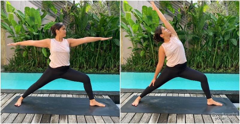 yogi practicing warrior 2 to peaceful warrior