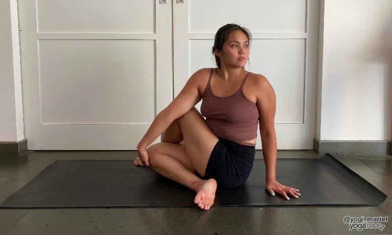Yogi practicing Spine Twist